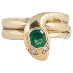 Victorian Serpent Ring Set with Emerald