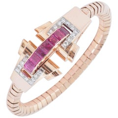 Art Deco French Ruby and Diamond Bracelet in 18 Carat Gold