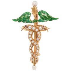 Edwardian Caduceus in Enamel and Pearl Brooch