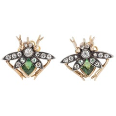 Modern Diamond and Peridot Bug Earrings