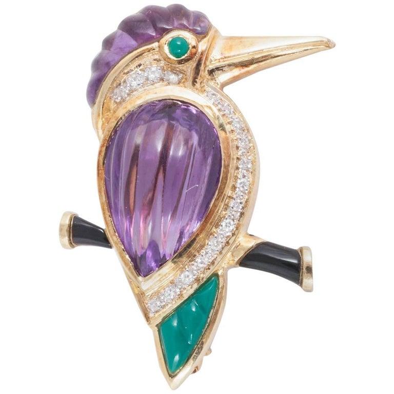 1960s Gem Set Kingfisher Brooch or Pendant