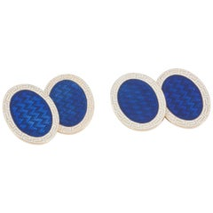 Edwardian Blue and White Enamel Cufflinks by Cropp and Farr