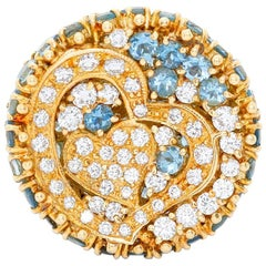 18 Karat Yellow Gold Aquamarine and Diamond Ring
