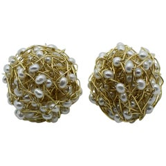 Kayo Saito 18 Karat Gold Pearl Knitted Earrings, Mist Collection