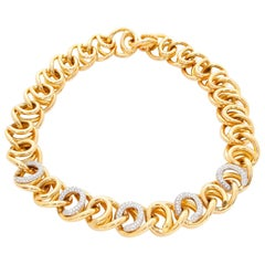 18 Karat Yellow Gold Pave Diamond Link Necklace