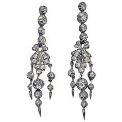 Antique 19th Century Diamond Chandelier Earrings, circa 1840