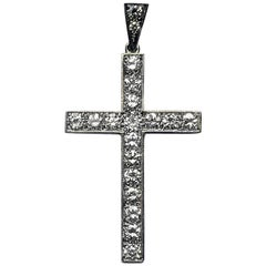 Edwardian Diamond Platinum Cross