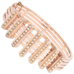 19th Century French Rose Gold Pearl Bar Bracelet