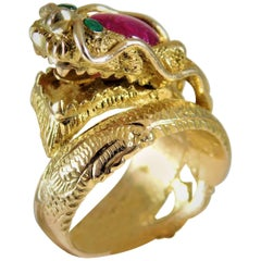 Handcrafted 14 Karat Gold Ruby and Emerald Serpentine Dragon Ring