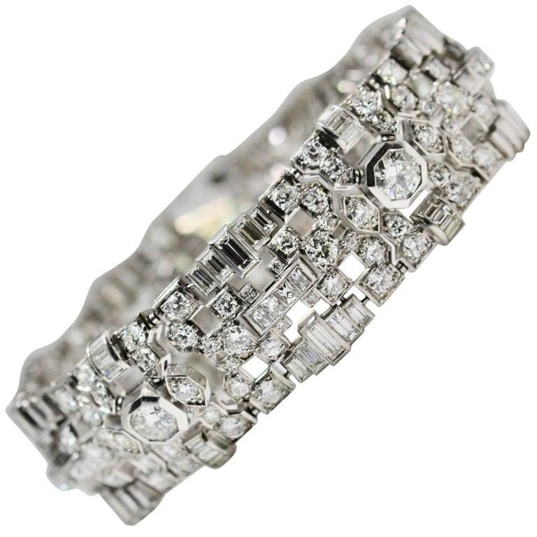 1940s Retro Platinum Flexible Diamond Bracelet