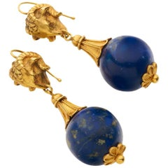 18 Carat Yellow Gold Lapis Victorian Ram's Head Earrings