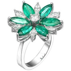 Floral Diamond and Emerald Marquise Cut Ring