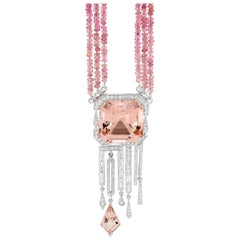 30.50 Carat Morganite, Diamond and Pink Tourmaline Pendant and Necklace