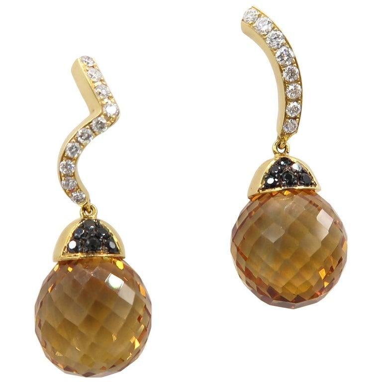 Boon Citrine Ball White Black Diamond Yellow Gold Earrings