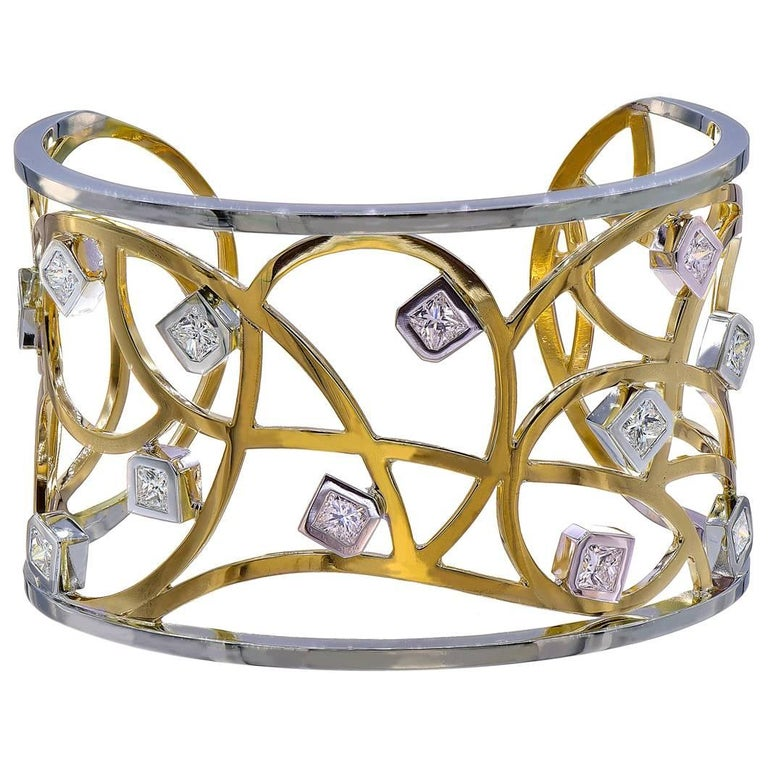 Handmade Yellow and White Gold Cuff Bracelet with Princess Diamonds