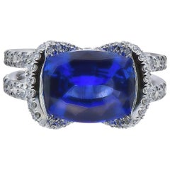 Handmade Cushion Sapphire Ring in White Gold, Set with Diamonds