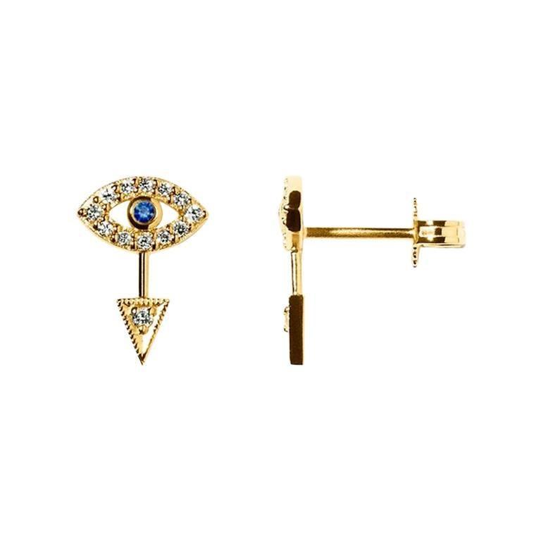 Gold White Diamond Blue Sapphire Eye Earring