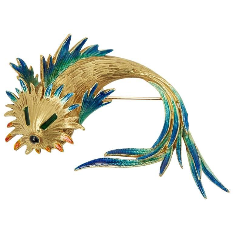 Cartier 18 Karat Yellow Gold Enamel Vintage Fish Pin Brooch For Sale