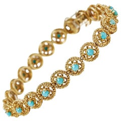 Cartier Turquoise Yellow Gold Bracelet