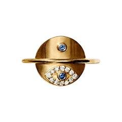 Gold White Diamond Blue Sapphire Eye Ring