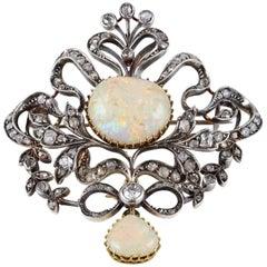 Victorian 20.0 Carat Australian Opal 3.80 Carat Diamond Rare Brooch Pendant