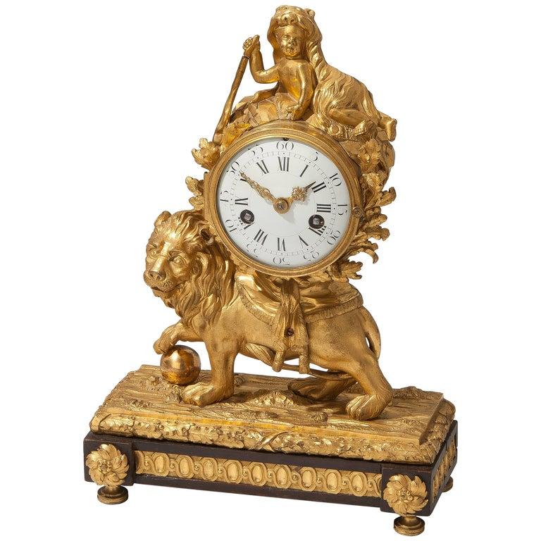 Louis XV Lion Mantle Clock Gilded Bronze, circa 1770 For Sale