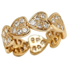 Cartier 18 Karat Yellow Gold Round Brilliant Cut Diamond Heart Band Ring