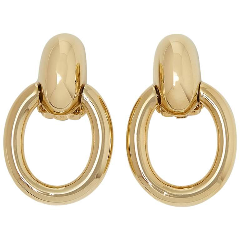 Cartier 18 Karat Yellow Gold Door Knocker Clip On Earrings For