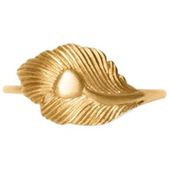 Gold Peacock Feather Ring
