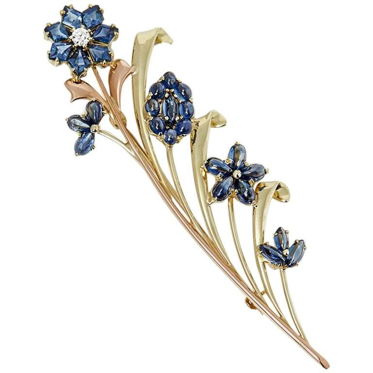 Tiffany & Co. 14 Karat Yellow & Rose Gold Sapphire & Diamond Retro Brooch