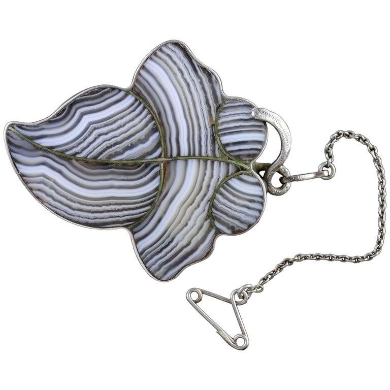 Antique Victorian Scottish Silver Plaid Leaf Brooch, circa 1860