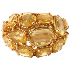 Yellow Sapphire Cushion Gold Dome Cluster Ring