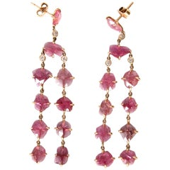 Ruby Diamonds Gold Dangle Chandelier Earrings