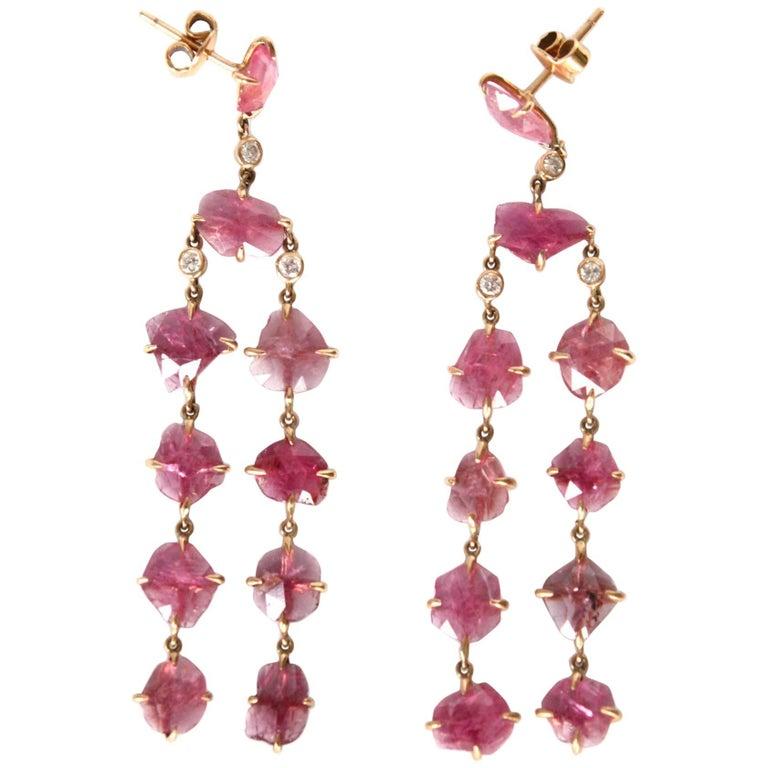 Ruby Diamonds Gold Dangle Chandelier Earrings
