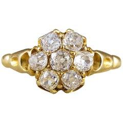 Victorian Antique Flower Cluster Diamond 18 Carat Gold Ring