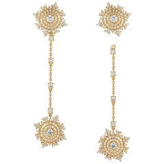 Nadine Aysoy Petite Tsarina 18 Karat Yellow Gold and Diamond Long Earrings