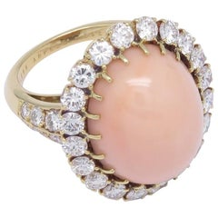 Van Cleef & Arpels Pink Coral Diamond Ring
