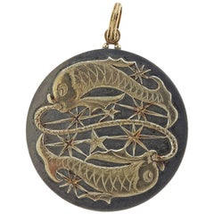Buccellati Pisces Zodiac Sign Gold Silver Medallion Pendant