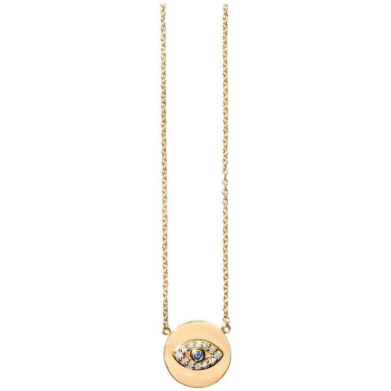 Gold White Diamond Blue Sapphire Eye Necklace