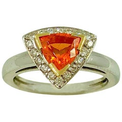 Mandarin Garnet Diamonds Gold Ring