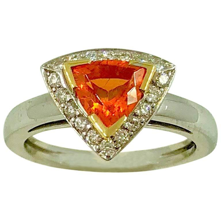 Mandarin Garnet Diamonds Gold Ring For Sale
