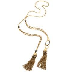 1990s Lariat Detachable Gold Tassel, Fringe Design Long Chain Diamond Necklace