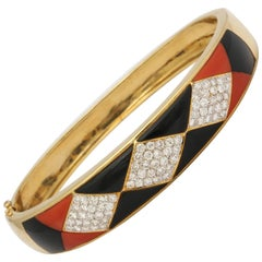1970s Horizontal Marquise Cut Onyx, Diamond and Coral Custom Cut Bangle Bracelet
