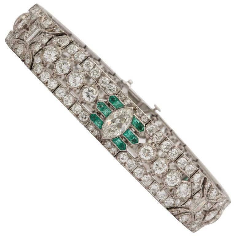 Important Art Deco Flexible Diamond with Emerald Accent Dressy Platinum Bracelet For Sale