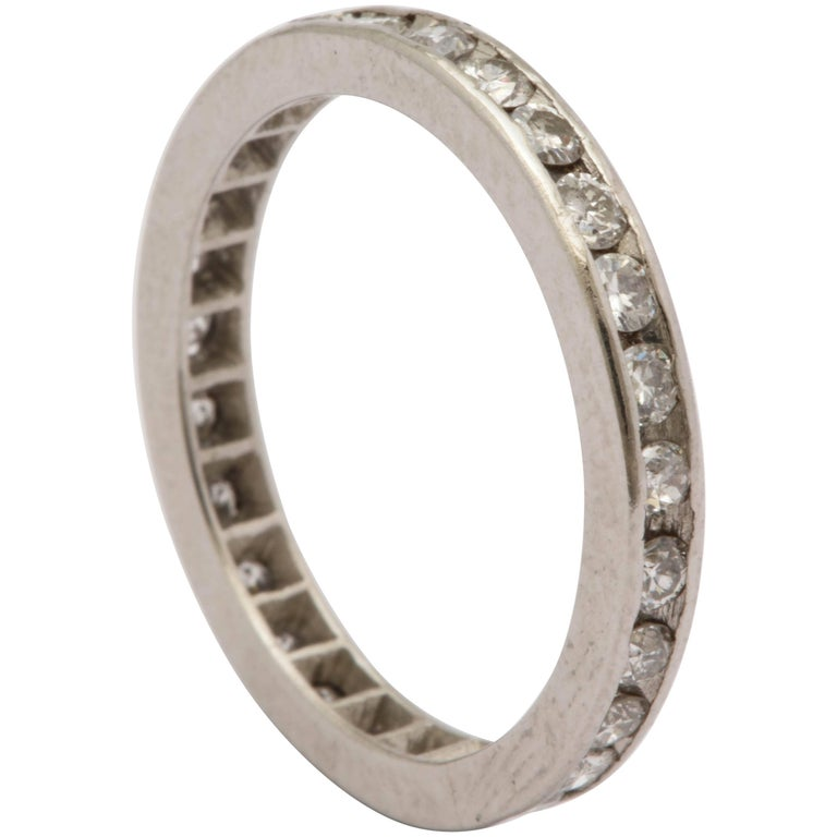 1940s 2.5 MM Channel Set Diamond And Platinum Eternity Band