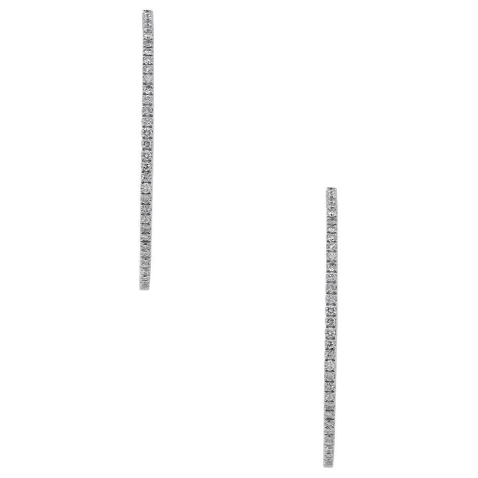 Round Diamond Inside Out Hoop Earrings