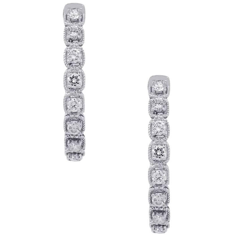 Inside Out Diamond Hoop Earrings at 1stdibs
