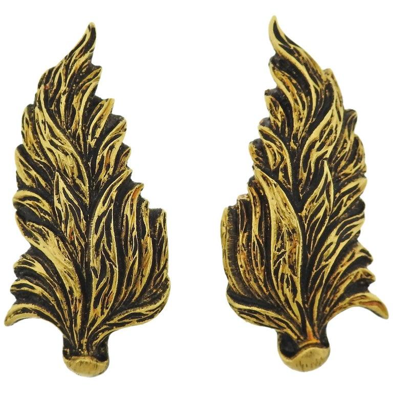 Buccellati Leaf Motif Gold Earrings