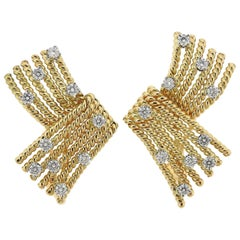 Tiffany & Co. Schlumberger Diamond Gold Platinum V Rope Earrings
