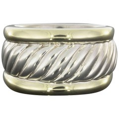 David Yurman Gold and Sterling Silver Cable Cigar Thoroughbred Ring